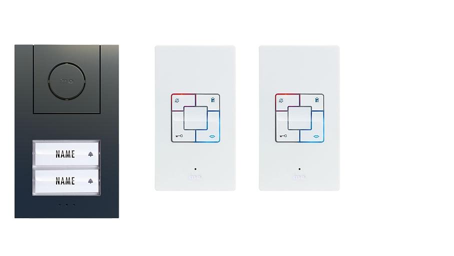 M-E  Audio-Türsprechanlage ANTHRAZIT 2-Familienhaus Set Aufputz AD ALU 4020 A
