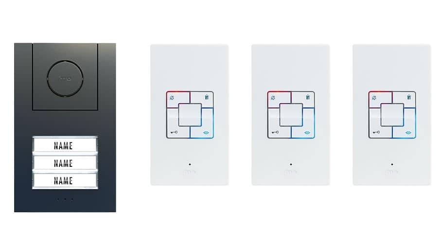 M-E  Audio-Türsprechanlage Anthrazit ALU 3-Familienhaus Set Aufputz AD-ALU-4030-A