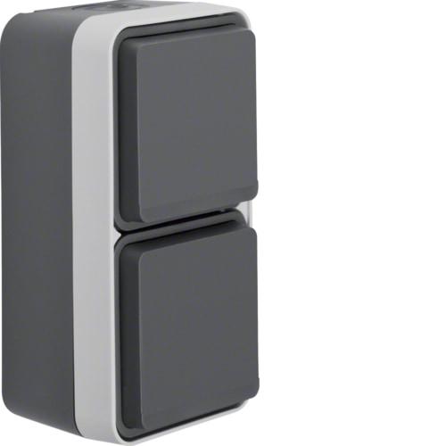 Berker FR-Schuko-Steckdose 2-fach senkrecht mit Klappdeckel IP55 grau/lichtgrau 47703525