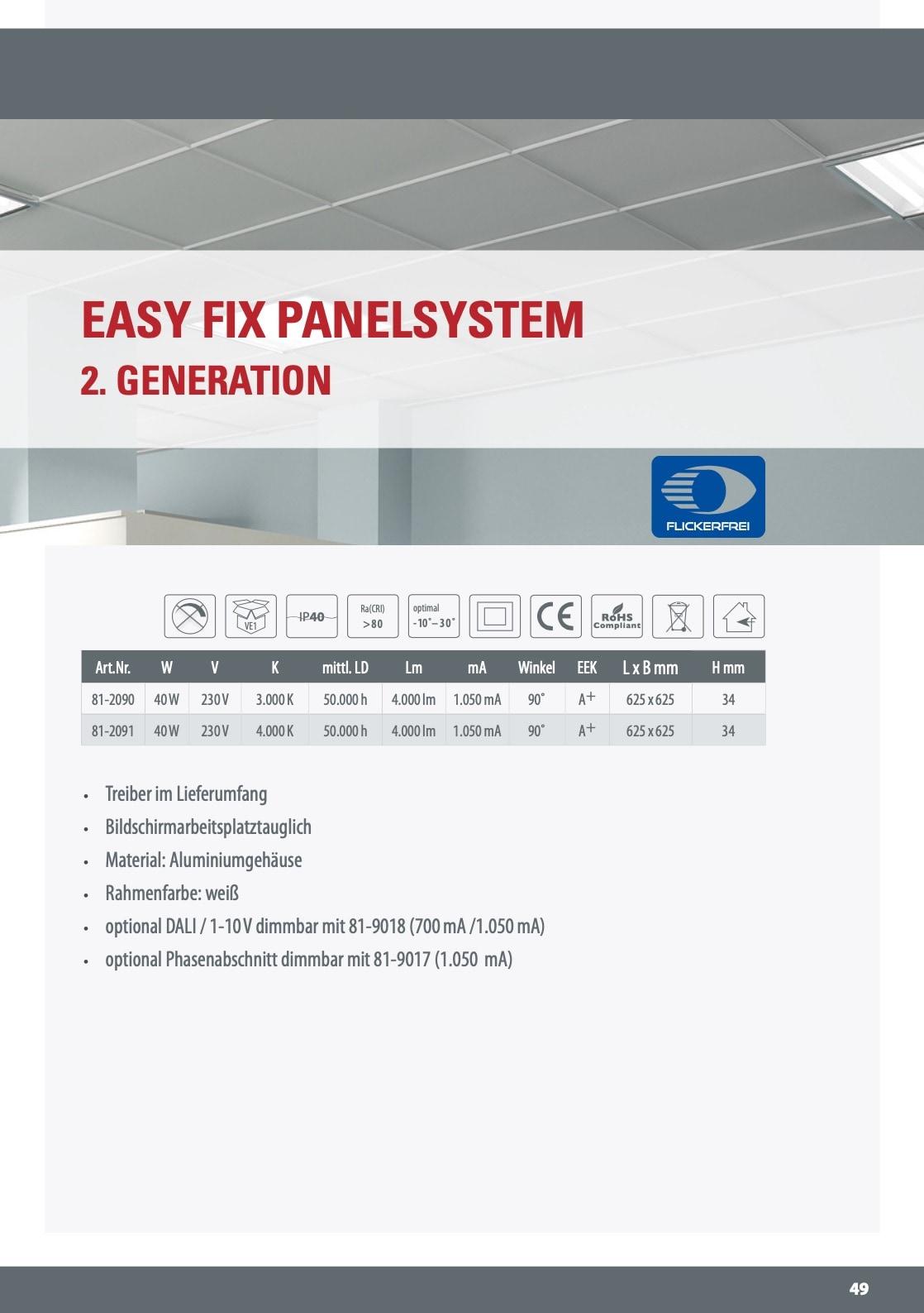 M-Light Easy Fix Anbaupanel 625x625mm 40W 4000K 4000lm UGR19 90° 81-2090