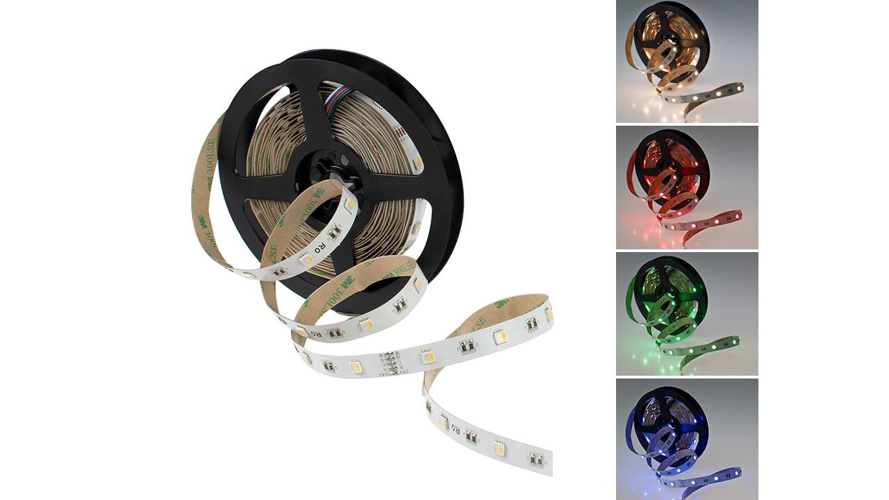 Rolux RGB-W Streifen, 5m, 9,6W/m (48W) 2250lm RGB + 3000K IP20 12mm #5050096030