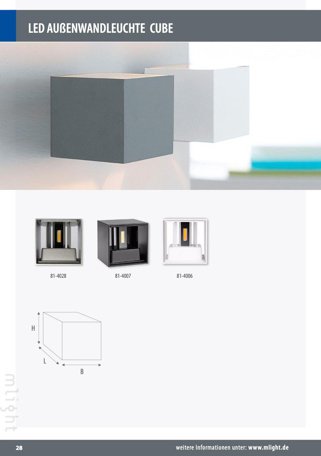 "M-Light LED Außenwandleuchte ""CUBE"" 6W 3000K 500lm 0-120° WInkel 100x100x100mm 81-4006"