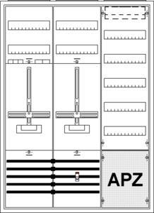 Striebel & John Komplettschrank KS245Z 3/3A  1 Zähler 1 TSG 1 Verteilfeld/5Reihig mit APZ 1100x800x215mm 2CPX035884R9999