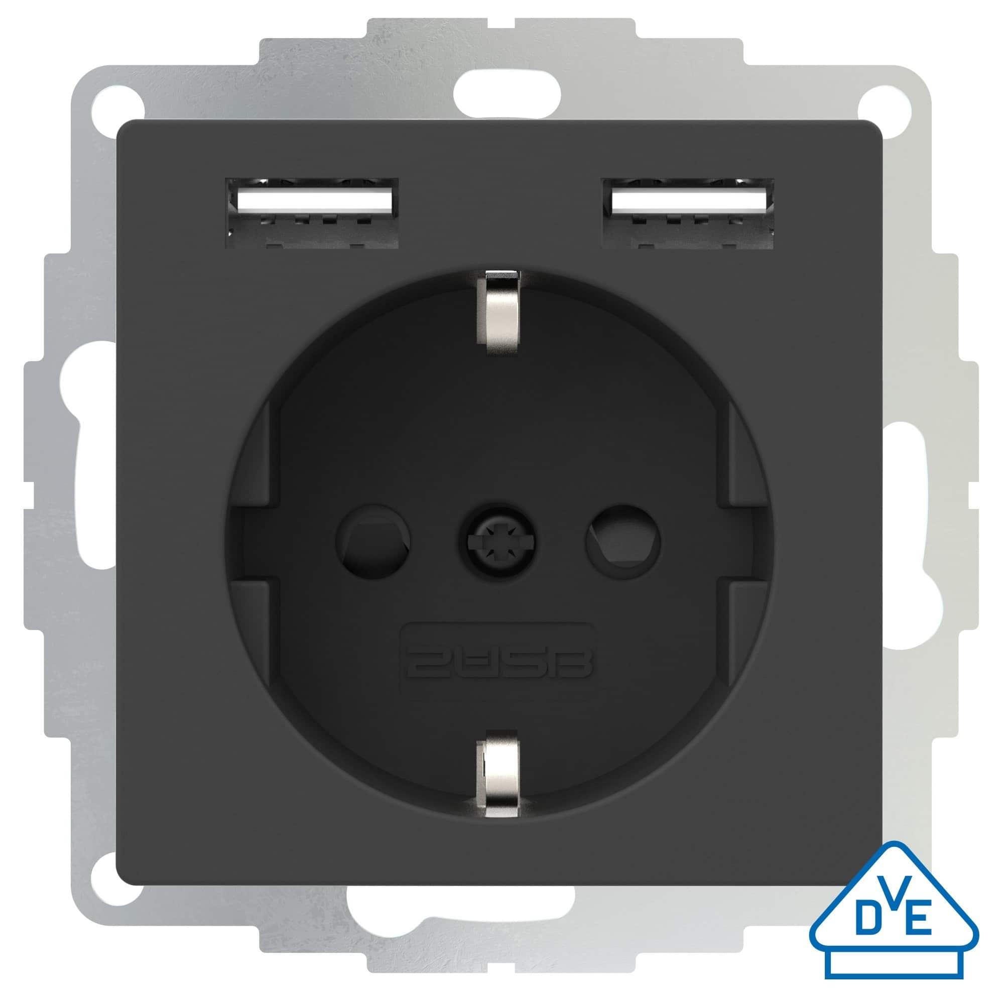 2USB Schutzkontakt-Steckdose 2x USB-A inCharge Pro55 anthrazit matt 55x55mm #106206