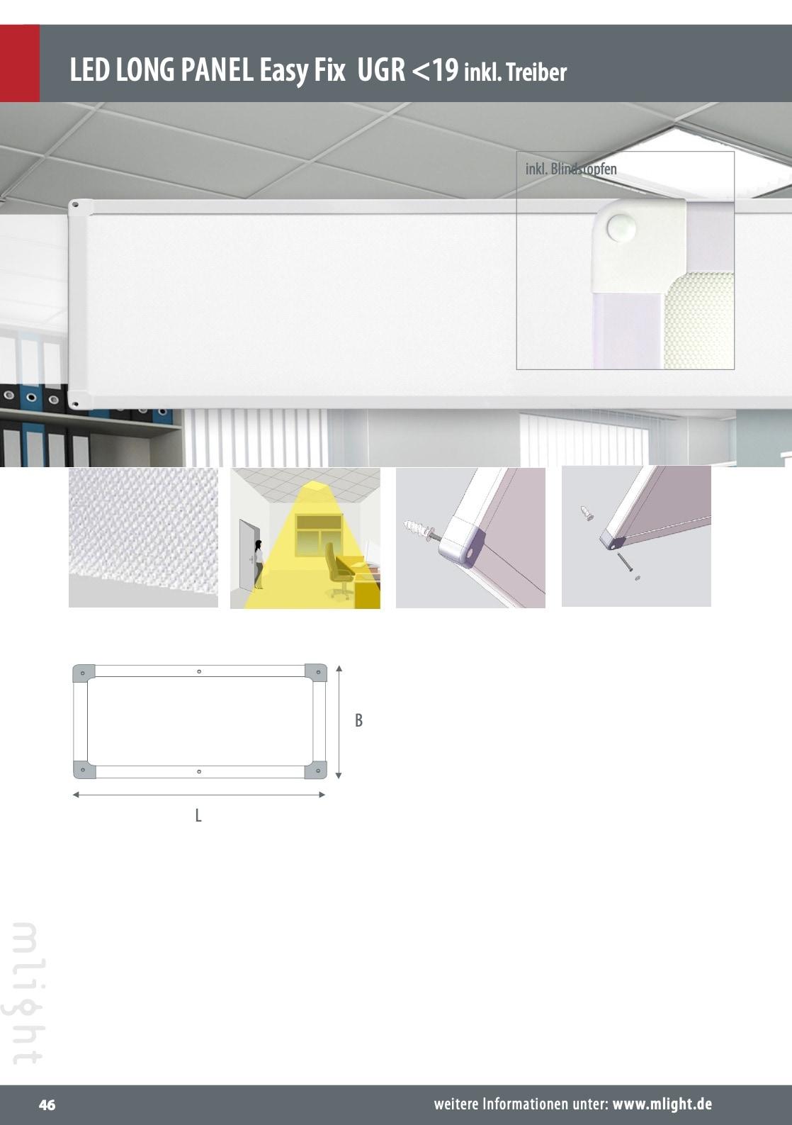 M-Light LED Deckananbau Panel UGR>19 1500x300x34mm 40W 4000K 4900lm weiß 81-2099