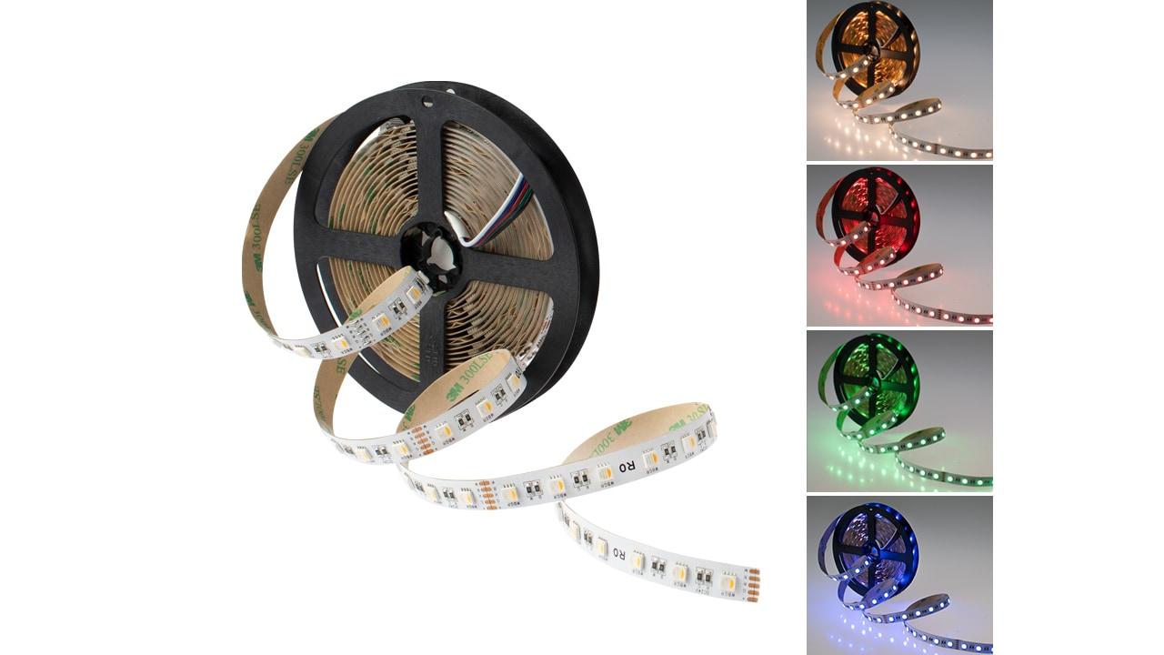 Rolux RGB-W Streifen, 5m, 19,2W/m (96W) 24V DC 4500lm RGB + 3000K IP20 12mm #5050192030