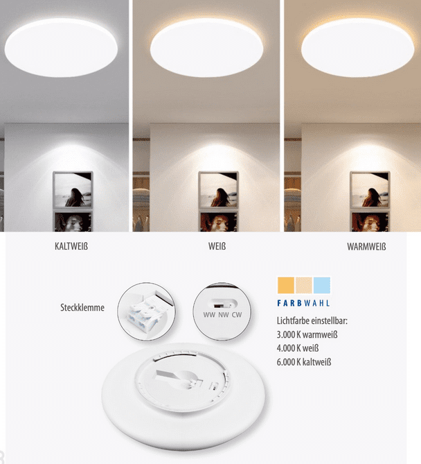 """M-Light LED Deckenleuchte """"Arnold"""" 18W 3000K/4000K/6000K 1560lm Durchmesser 30cm"""