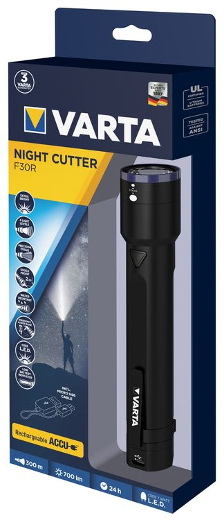 Varta LED Taschenlampe 18901 Night Cutter F30R incl. Li-Ion-Accu