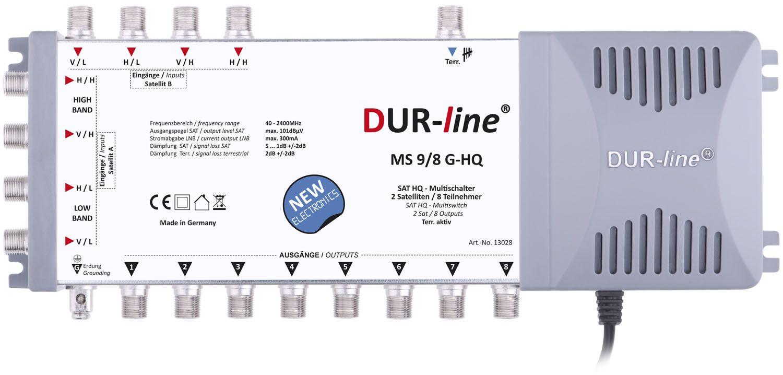 DuraSat DUR-line MS 9/8 G-HQ - Multischalter Für 2 Satelliten und bis zu 8 Teilnehmern mit Netzteil