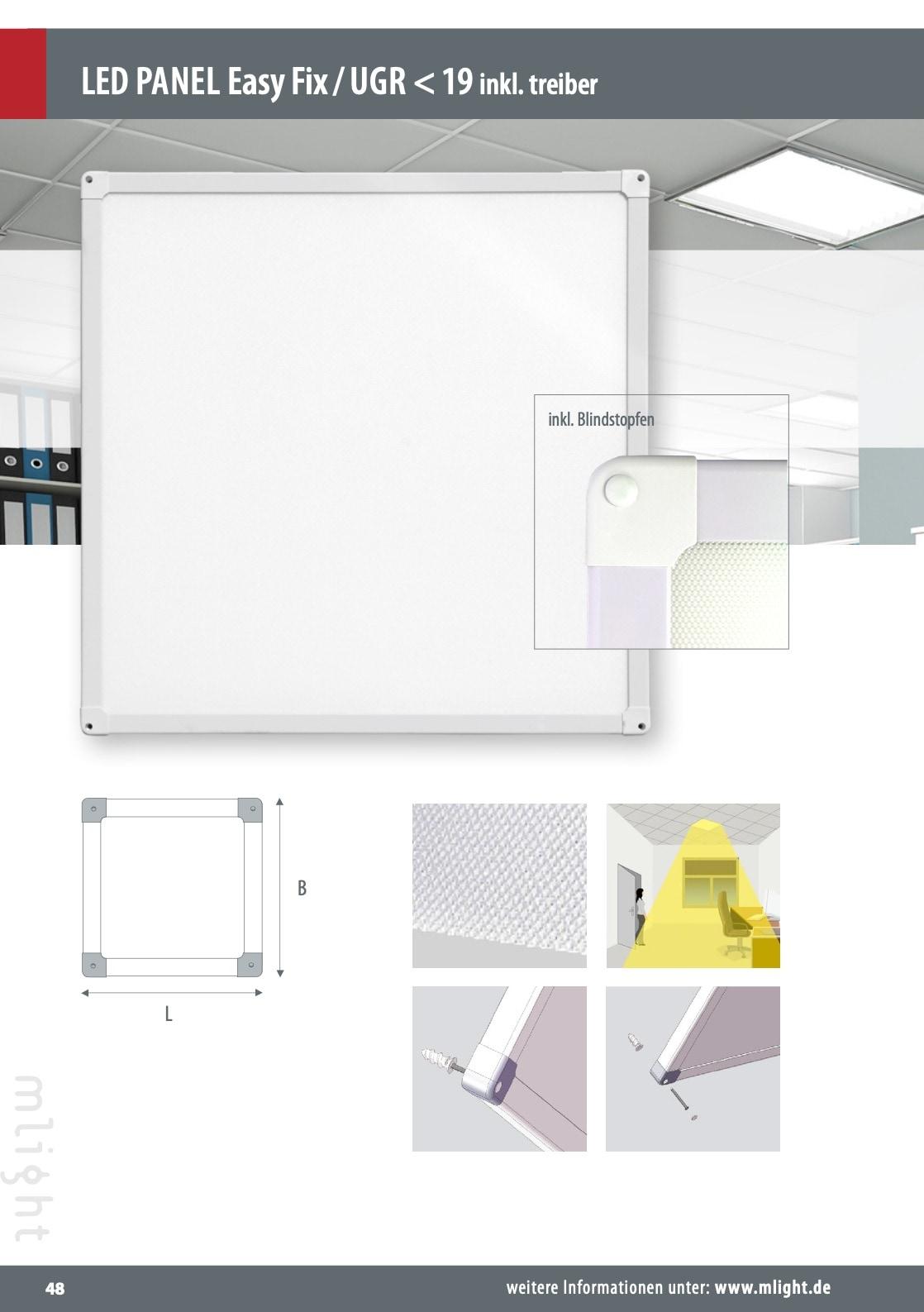 M-Light LED Deckananbau Panel UGR>19 625x625x34mm 40W 4000K 4000lm weiß 81-2091