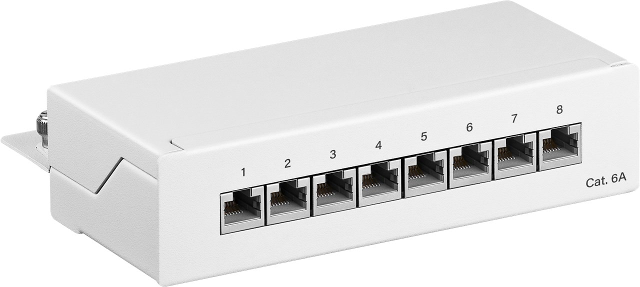 Goobay Patchpanel CAT 6a Mini/Desktop Patch Panel, 8 Port