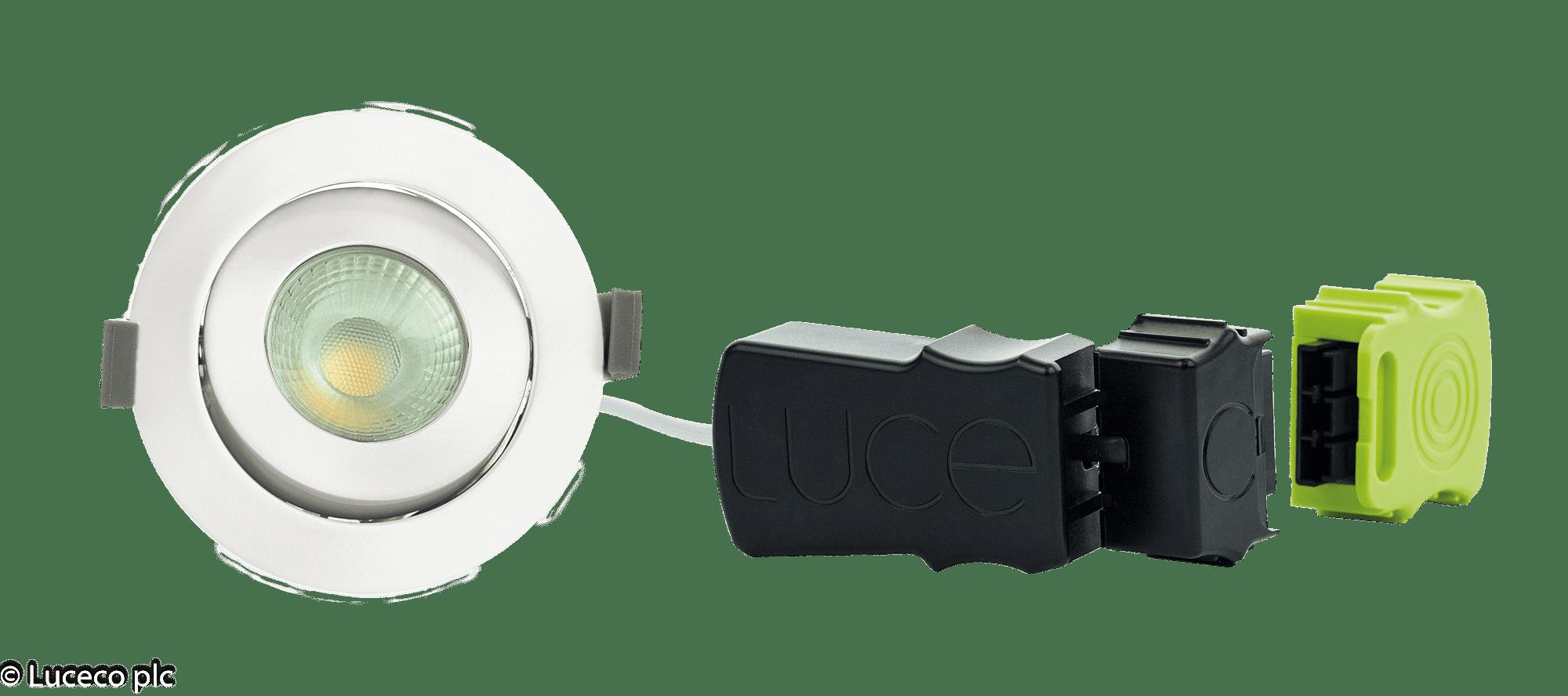 "Luceco LED Einbaustrahler schwenkbar eisengeb. ""Element"" 8W  3000K 800lm dimmbar LDEA9W8D30eisen"