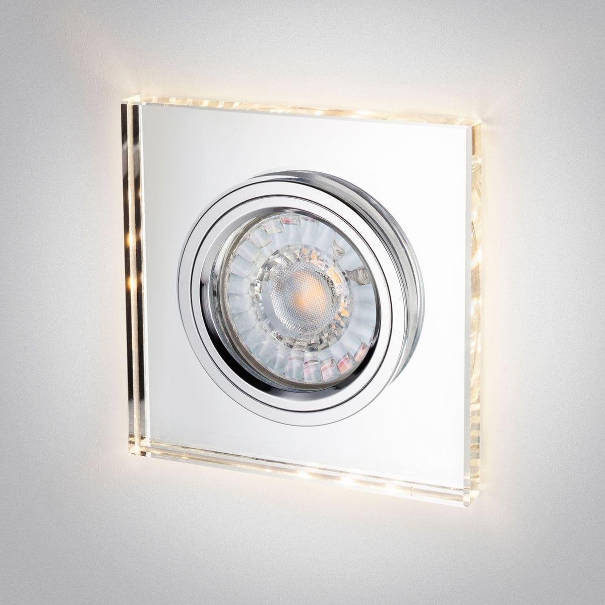 """Rolux Einbaustrahler """"Kristall"""" 90x90mm mit indirekter Deckenaufhellung"""